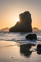 Sunset on Bandon Beach at low tide, Bandon, Oregon