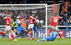 Peterborough United's Kgosi Ntlhe blocks an attempt from Walsall's Kieron Morris - Photo mandatory by-line: Joe Dent/JMP - Mobile: 07966 386802 - 06/04/2015 - SPORT - Football - Peterborough - ABAX Stadium - Peterborough United v Walsall - Sky Bet League One