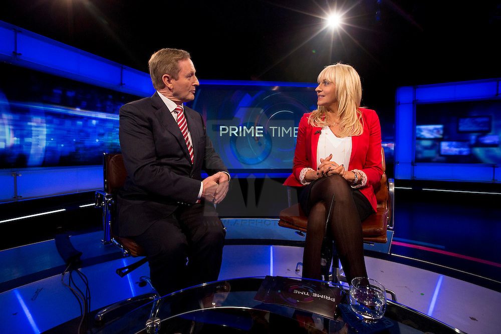 Repro Free: 19/02/2015 <br /> An Taoiseach Enda Kenny TD being interviewed by Miriam O'Callaghan on RTÉ Prime Time tonight on RTE One television. Picture Andres Poveda / RTÉ