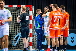 The Slovenian handball player Rok Ovnicek injured against Netherlands during the European Championship qualifying match on January 6, 2020 in Topsportcentrum Almere