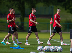 CARDIFF, WALES - Friday, June 4, 2021: Wales' Connor Roberts, Ben Davies and captain Gareth Bale during a training session at the Vale Resort ahead of an International Friendly against Albania as they prepare for the UEFA Euro 2020 tournament. (Pic by David Rawcliffe/Propaganda)
