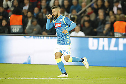 Napoli's Lorenzo Insigne joy after scoring the 1-0 goal during the Group stage of the Champion's League, Paris-St-Germain vs Napoli in Parc des Princes, Paris, France, on October 24th, 2018. PSG and Napoli drew 2-2. Photo by Henri Szwarc/ABACAPRESS.COM