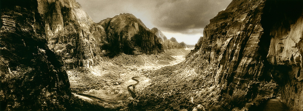 Zion Canyon from Angel's Point Landing, Virgin River, Zion National Park,  black and white infra-red with toning