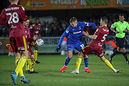 AFC Wimbledon striker Joe Pigott (39) battles for possession during the EFL Sky Bet League 1 match between AFC Wimbledon and Ipswich Town at the Cherry Red Records Stadium, Kingston, England on 11 February 2020.