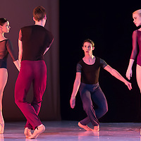Edua Harkai, Kristof Kerekes, Teodora Szecsi and Balint Hajdu fifth year modern class  students of the Hungarian Dance Academy perform Faces choreographed by Levente Bajari during a gala performance held at the National Dance Theatre in Budapest, Hungary on February 27, 2013. ATTILA VOLGYI