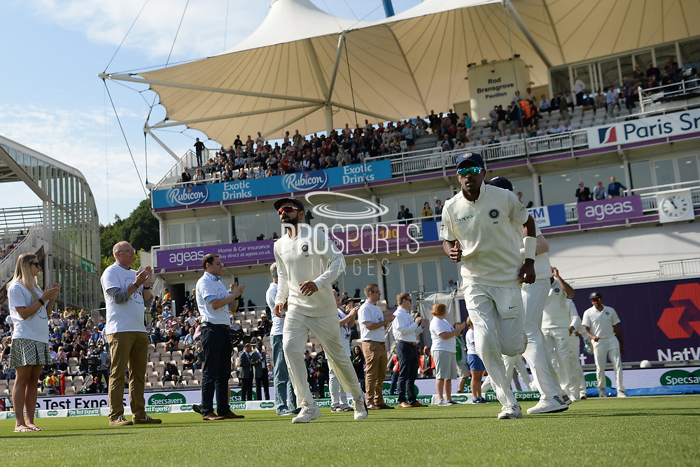 Virat Kohli of India leads out the team during the first day of the 4th SpecSavers International Test Match 2018 match between England and India at the Ageas Bowl, Southampton, United Kingdom on 30 August 2018.