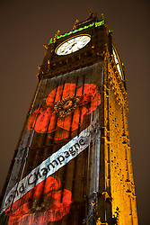 © Licensed to London News Pictures. 08/11/2015. London, UK. Poppies projected on to the Elizabeth Clock Tower and Big Ben on Remembrance Sunday in Westminster, Central London.. Photo credit: Ian Schofield/LNP