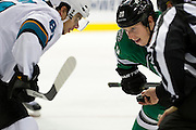 DALLAS, TX - OCTOBER 17:  Cody Eakin #20 of the Dallas Stars prepares for a faceoff against Tyler Kennedy #81 of the San Jose Sharks on October 17, 2013 at the American Airlines Center in Dallas, Texas.  (Photo by Cooper Neill/Getty Images) *** Local Caption *** Cody Eakin; Tyler Kennedy