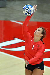 28 September 2014:  Sierra Burris during an NCAA womens volleyball match between the Evansville Purple Aces and the Illinois State Redbirds at Redbird Arena in Normal IL