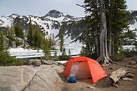 Backcountry camp at Mirror Lake, Eagle Cap Wilderness Oregon