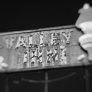 Valley Inn Sign - Kingsburg, CA - Highway 99 - Lensbaby - Infrared Black & White