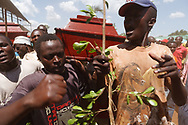 Coffins being carried through crowds at the rally for peace, Kisumu