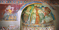 Romanesque frescoes of Apse of St. Steven of Andorra (Sant Esteve) from the church of Sant Esteve d'Andorra, painted around 1200-1210,  Andorra la Vella. National Art Museum of Catalonia, Barcelona. MNAC 35711 .<br /> <br /> If you prefer you can also buy from our ALAMY PHOTO LIBRARY  Collection visit : https://www.alamy.com/portfolio/paul-williams-funkystock/romanesque-art-antiquities.html<br /> Type -     MNAC     - into the LOWER SEARCH WITHIN GALLERY box. Refine search by adding background colour, place, subject etc<br /> <br /> Visit our ROMANESQUE ART PHOTO COLLECTION for more   photos  to download or buy as prints https://funkystock.photoshelter.com/gallery-collection/Medieval-Romanesque-Art-Antiquities-Historic-Sites-Pictures-Images-of/C0000uYGQT94tY_Y
