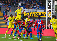 Football - 2021/2022  Premier League - Crystal Palace vs Brentford - Selhurst Park  - Saturday 21st August 2021.<br /> <br /> Ivan Toney (Brentford FC) out jumps Vicente Guaita (Crystal Palace) to head the ball at goal at Selhurst Park.<br /> <br /> COLORSPORT/DANIEL BEARHAM