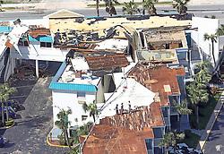 October 8, 2016 - Daytona Beach, FL, USA - Workers survey damage at a hotel in Daytona Beach, Fla., on Saturday, Oct. 8, 2016, in the wake of Hurricane Matthew. (Credit Image: © Red Huber/TNS via ZUMA Wire)