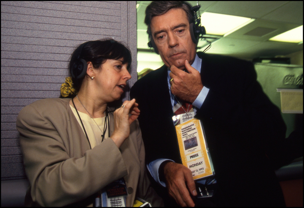 Dan Rather working the Democratic National Convention in 1992, on July 13.