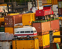 Shipping Containers in Ketchikan. Image taken with a Nikon D300 camera and 70-300 mm VR lens.