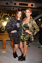Left to right, Charlotte de Carle and Ashley James at the LFW Sponge Bob Gold presentation at The Atrium, The Store Studios, 180 The Strand, London England. 18 February 2017.