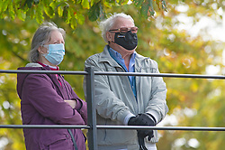 ©Licensed to London News Pictures 08/09/2020  <br /> Greenwich, UK. Two older people with masks on in Greenwich park, London today enjoying the warmer weather with the prospect of a mini heatwave later in the week as a subtropical swell of warm air could come in from the Atlantic. Photo credit: Grant Falvey/LNP