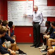 Head coach Tod Kowalczyk goes over the game plan one last time before a college basketball team between Toledo and Ball State at Ball State University's Worthen Arena in Muncie, Ind., on Saturday, February 17, 2018. THE BLADE/KURT STEISS