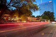 Rainey Street bar district at dusk in downtown Austin, Texas, USA