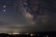 The Milky Way over the lights of Whitefish, Montana from Werner Peak