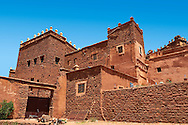 Exterior of the mud brick Berber Kasbah Telouet, Atlas Mountains Morocco .<br /> <br /> Visit our MOROCCO HISTORIC PLAXES PHOTO COLLECTIONS for more   photos  to download or buy as prints https://funkystock.photoshelter.com/gallery-collection/Morocco-Pictures-Photos-and-Images/C0000ds6t1_cvhPo<br /> .<br /> <br /> Visit our ISLAMIC HISTORICAL PLACES PHOTO COLLECTIONS for more photos to download or buy as wall art prints https://funkystock.photoshelter.com/gallery-collection/Islam-Islamic-Historic-Places-Architecture-Pictures-Images-of/C0000n7SGOHt9XWI