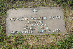 31 August 2017:   Veterans graves in Park Hill Cemetery in eastern McLean County.<br /> <br /> Howard Walter Price  Illinois  S1 US Navy  World War II  Aug 14 1926  Sept 17 1965