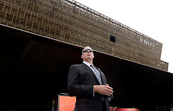 A secret servive agent stands still during the opening ceremony of the Smithsonian National Museum of African American History and Culture on September 24, 2016 in Washington, DC, USA. The museum is opening thirteen years after Congress and President George W. Bush authorized its construction. Photo by Olivier Douliery/Pool/ABACAPRESS.COM