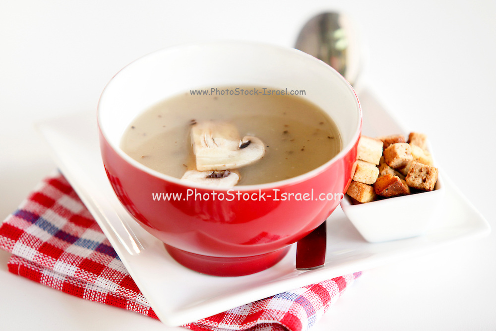 Cream of Mushroom Soup in red bowl