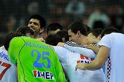 Croatia team celebrates victory against France (Photo by Sportida Photo Agency)