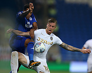Pontus Jansson of Leeds Utd ® is challenged by Nathaniel Mendez-Laing of Cardiff city (l) . EFL Skybet championship match, Cardiff city v Leeds Utd at the Cardiff city stadium in Cardiff, South Wales on Tuesday 26th September 2017.<br /> pic by Andrew Orchard, Andrew Orchard sports photography.