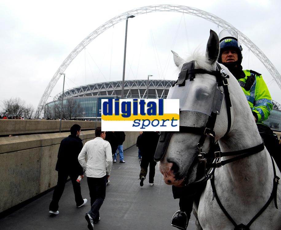 Photo: Alan Crowhurst.<br />England U21 v Italy U21. International Friendly. 24/03/2007. The white police horse returns to Wembley.