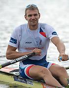 Amsterdam. NETHERLANDS.   CZE M1X, Ondrej SYNEK, Gold Medalist Men's Single scull.  De Bosbaan Rowing Course, venue for the 2014 FISA  World Rowing. Championships. 14:38:21  Sunday  31/08/2014.  [Mandatory Credit; Peter Spurrier/Intersport-images]