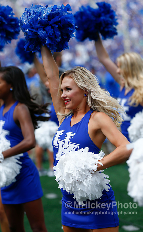 LEXINGTON, KY - SEPTEMBER 09: A University of Kentucky dancer is seen during the game against the Eastern Kentucky Colonels at Kroger Field on September 9, 2017 in Lexington, Kentucky. (Photo by Michael Hickey/Getty Images)