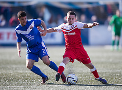 Montrose Terry Masson and Brora Rangers Andrew Greig. <br /> Montrose 3 v 1 Brora Rangers, Scottish League Two play-off second leg, today at Links Park, Montrose.