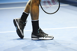 November 18, 2017 - London, England, United Kingdom - A detail shot of Roger Federer of Switzerland in action against David Goffin of Belgium in their semi-final match today - Goffin def Federer 2-6, 6-3, 6-4 at O2 Arena on November 18, 2017 in London, England. (Credit Image: © Alberto Pezzali/NurPhoto via ZUMA Press)