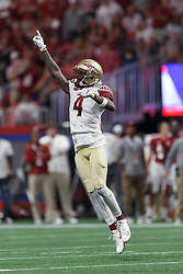 Florida State Seminoles defensive back Tarvarus McFadden (4) celebrates against the Alabama Crimson Tide during the Chick-fil-A Kickoff NCAA football game on Saturday, September 2, 2017, in Atlanta. (Paul Abell via Abell Images for Chick-fil-A Kickoff Game)