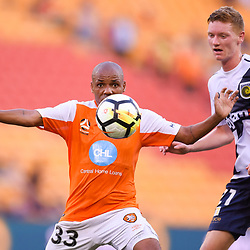 BRISBANE, AUSTRALIA - MARCH 31: Henrique of the Roar controls the ball during the Round 25 Hyundai A-League match between Brisbane Roar and Central Coast Mariners on March 31, 2018 in Brisbane, Australia. (Photo by Patrick Kearney / Brisbane Roar FC)