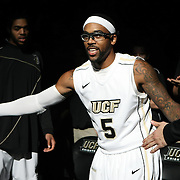Central Florida guard Marcus Jordan (5) during player introductions before a Conference USA NCAA basketball game between the Memphis Tigers and the Central Florida Knights at the UCF Arena on February 9, 2011 in Orlando, Florida. Memphis won the game 63-62. (AP Photo: Alex Menendez)