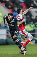 Danny Graham (Blackburn Rovers) is impeded as he peels away and tries to get behind the Rotherham defence during the EFL Sky Bet Championship match between Rotherham United and Blackburn Rovers at the AESSEAL New York Stadium, Rotherham, England on 11 February 2017. Photo by Mark P Doherty.
