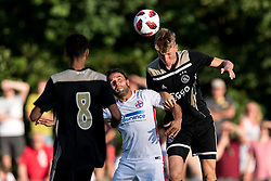 (L-R) Noussair Mazraoui of Ajax, Filipe de Andrade Texeira of Steaua Bucharest, Per Schuurs of Ajax during the friendly match between Ajax Amsterdam and Steaua Bucharest on July 7, 2018 at Sportpark Achterveen in Hattem, The Netherlands