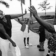 Hurricane Katrina evacuees at Florida shelter photographed for People Magazine.