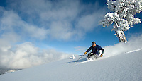NEWS&GUIDE PHOTO / BRADLY J. BONER.Skiers have been finding early-season turns after a weekend storm system dropped a few inches of light-density powder in the mountains.