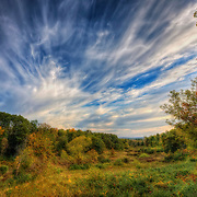 Intense clouds and colorful fall sunset over Retzer Nature Center in Waukesha,WI. Photo by Jennifer Rondinelli Reilly.
