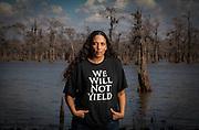 Cherri Foytlin stands near the edge of the Atchafalaya Swamp in Louisiana on February 24, 2011.