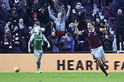 6 Christophe Berra scores winning goal in the William Hill Scottish Cup 4th round match between Heart of Midlothian and Hibernian at Tynecastle Stadium, Gorgie, Scotland on 21 January 2018. Photo by Kevin Murray.