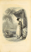Indian Fruit-Seller (Vignette Title.) From the book ' The Oriental annual, or, Scenes in India ' by the Rev. Hobart Caunter Published by Edward Bull, London 1835 engravings from drawings by William Daniell