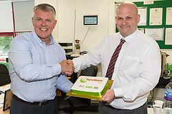 FareShare CEO Jim Duncan, right, and Operations Manager Paul Underdown at the opening of FareShare's relocated warehouse in Ashford, Kent. Ashford, Kent, May 23 2019.