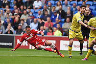 Ravel Morrison of Cardiff city shoots inches wide of a goal on his debut. . Skybet football league championship match, Cardiff city v Sheffield Wed at the Cardiff city stadium in Cardiff, South Wales on Saturday 27th Sept 2014<br /> pic by Andrew Orchard, Andrew Orchard sports photography.
